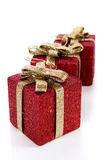 Artificial red gift boxes. Decorated Royalty Free Stock Photo