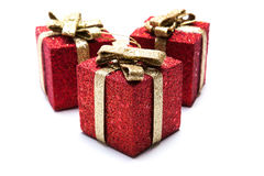 Artificial red gift boxes. Decorated Stock Images