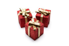 Artificial red gift boxes. Decorated Stock Photo