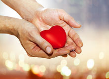 Artificial red heart on hands. Of man Royalty Free Stock Photography