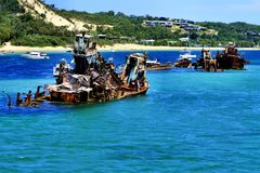The Wrecks - the artificial reef at Moreton Island. Queensland Royalty Free Stock Image