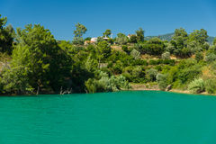 Artificial reservoir in the foothills of the Taurus. Turkey. Royalty Free Stock Photo