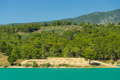Artificial reservoir in the foothills of the Taurus. Turkey. Stock Image