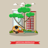 Artificial respiration vector illustration in flat style Royalty Free Stock Images