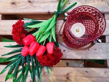 Artificial Rose Buds with Candle light royalty free stock photo