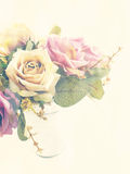 Artificial roses flower bouquet with vintage filter color Royalty Free Stock Photography