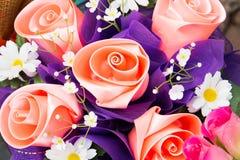 Artificial Roses from ribbin Royalty Free Stock Photos