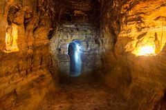 Artificial sandstone cave. Royalty Free Stock Photos