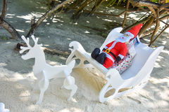 Artificial Santa Clause with deers Stock Photo