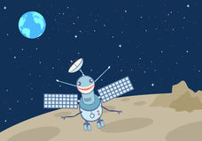 Artificial satellite-droid on the moon. A view of Earth from The Moon on the background of a starry sky.  Vector illustration Royalty Free Stock Photo
