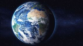 Artificial Satellite observing Earth from space zoom in animation