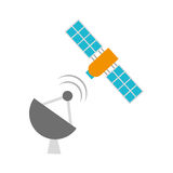 Artificial satellite spacial icon Royalty Free Stock Image
