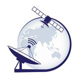 Artificial satellite. Telecommunication satellite on the earth geostationary in space and satellite antenna. Stock . Vector illustration EPS10 stock illustration