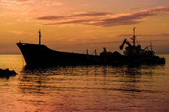 Artificial Shoreline Construction Evening Royalty Free Stock Photos