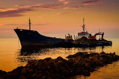 Artificial Shoreline Construction Evening Stock Image