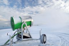 Artificial snow. Cannon for snow in mountain Royalty Free Stock Photography