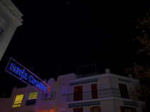 Artificial snow and Christmas decorations in the town of Nerja Spain Stock Photography