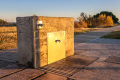 Artificial stone fontaine. Near the beach with the sunset Royalty Free Stock Images