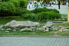 Artificial stone garden in a park in the center of the city with plants, grass and bushes against the background of people walking royalty free stock photos