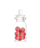 Artificial strawberry in the bottle isolated on white Stock Photo