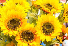 Artificial sunflowers bunch Royalty Free Stock Image