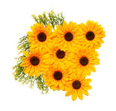 Artificial sunflowers on white background Royalty Free Stock Images