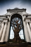 Artificial tree in arc. Huge decorative tree in arc of Palace of farmers in Kazan city Royalty Free Stock Photography