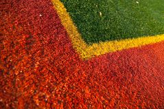 Artificial turf. On a tennis court Stock Images