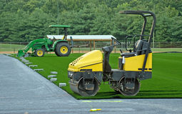 Artificial Turf Field. What is left after a day's work installing an artificial turf soccer field Stock Image