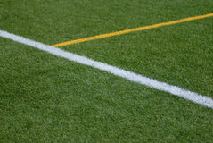 Artificial turf grass with marker lines Stock Images