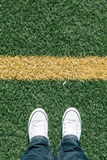 Artificial turf grass on soccer field with two Royalty Free Stock Photo
