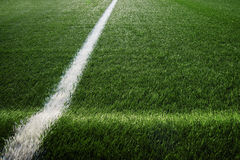 Artificial turf at soccer field Stock Image