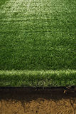 Artificial turf at soccer field Stock Photos