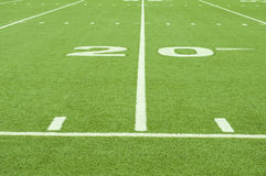 Artificial Turf 20 Yard Line. An image of the 20 yard line on artificial turf royalty free stock images