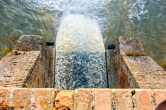 Artificial waterfall above view pov Royalty Free Stock Images