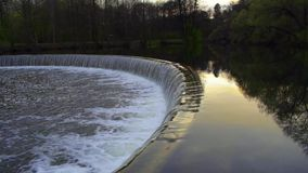 Artificial waterfall on the Svisloch river in Minsk, Belarus. stock video