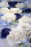Artificial white and blue roses Royalty Free Stock Images