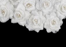 Artificial white roses background Stock Images