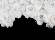 Artificial white roses background Stock Photo