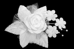 Artificial white wedding buttonhole Royalty Free Stock Photography