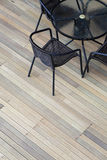 Artificial wood deck stock photography