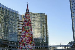 Artificial Xmas tree at business hub #1, Milan Royalty Free Stock Photo