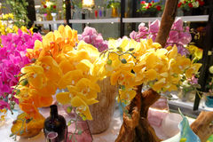 Artificial yellow phalaenopsis blossom decoration Royalty Free Stock Photos