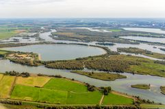Artificially constructed water basins in the Dutch National Park. Aerial photo of artificially constructed water basins in the Dutch National Park De Biesbosch stock photography