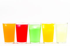 Artificially sweetened cold drink. Various flavoured artificially sweetened cold drink in glasses filled with ice Stock Photos