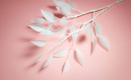 Artifitial leaf from vellume paper. Artificial leaf made from vellum paper on pink background Stock Photos
