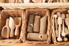 Artigianal wood objects royalty free stock photography