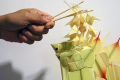 Artigianato mobile di stile del pesce di foglia di palma tailandese della carpa immagine stock libera da diritti