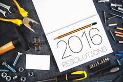 2016, artigiano Workshop Concept di risoluzioni del nuovo anno Immagini Stock Libere da Diritti