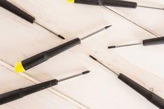 Artigo da ferramenta do trabalho na madeira cinzenta fotos de stock royalty free